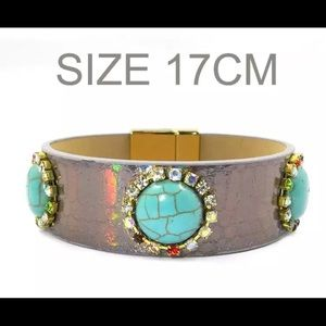 Leather bracelet,Turquoise Color Stone Bohemian